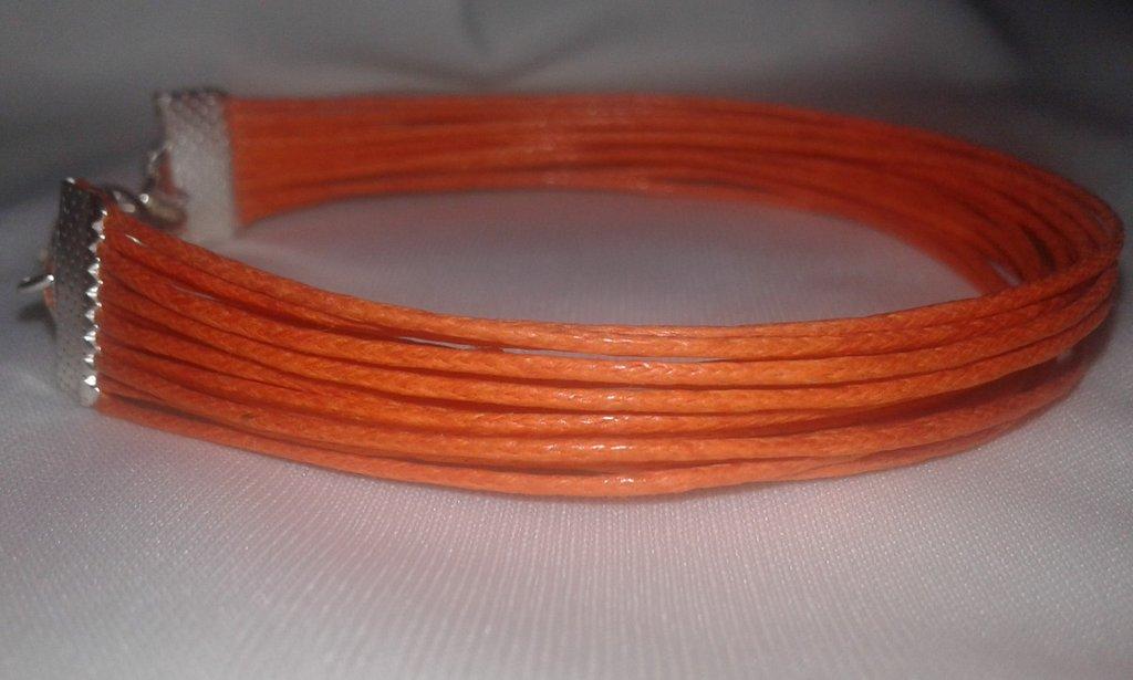 Bracciale multi filo a fascia di cuoio arancione