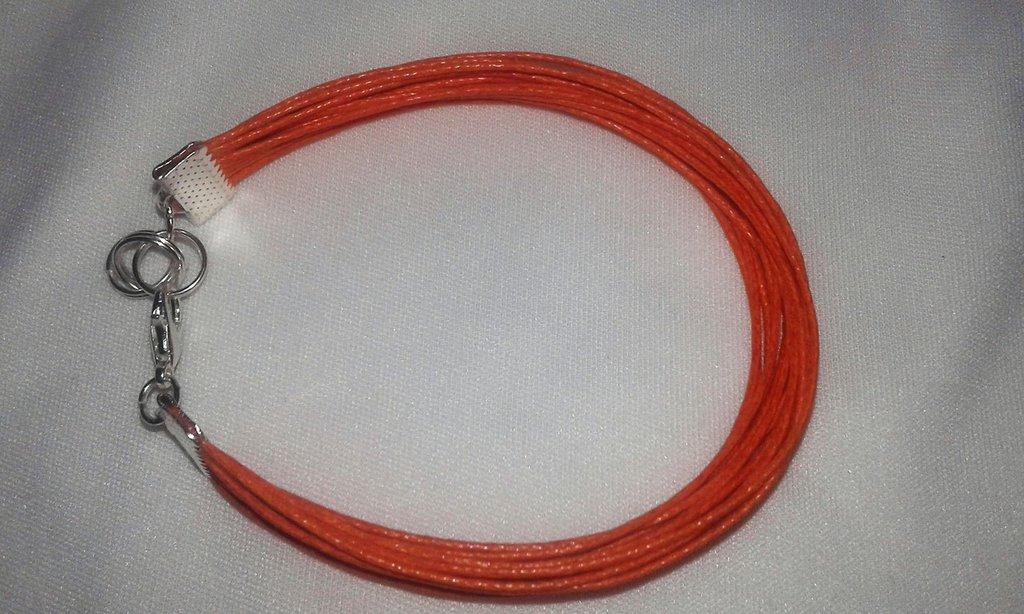 Bracciale a fascia di fili in cuoio arancioni