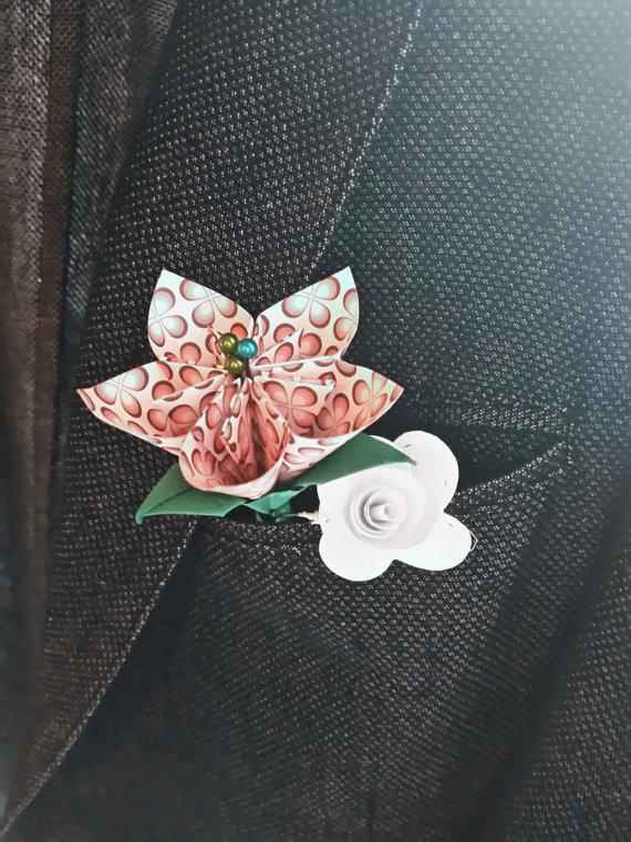 Fiore all'occhiello, fiore da giacca, fiori per matrimonio, wedding bouquet, paper flower, fiori di carta