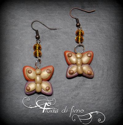 orecchini fimo| orecchini farfalle| orecchini autunno| orecchini pendenti| gioielli autunno| polymerclay earrings| bijoux| orecchini adulti