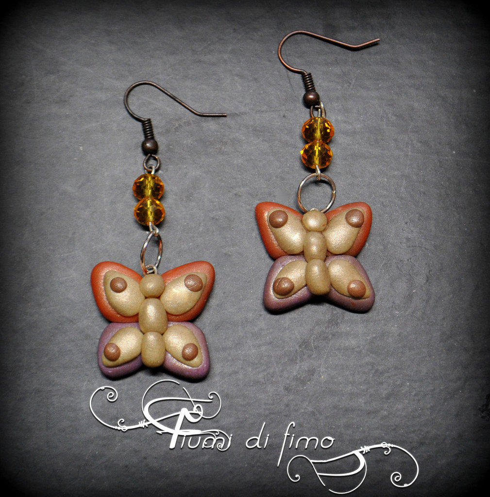 orecchini fimo| orecchini farfalle| orecchini autunno| orecchini pendenti| gioielli autunno| polymerclay earrings| bijoux| orecchini adulti