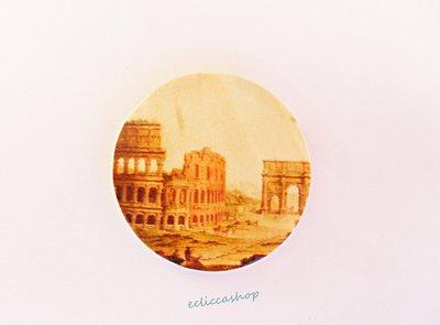 Medaglione ciondolo GRANDE raffigurante Roma antica in legno 45 mm 1pz