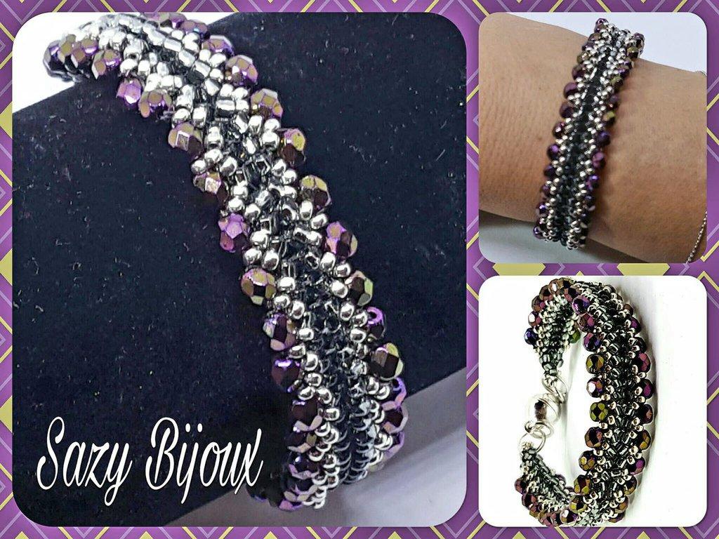 HENRY: Bracciale in tessitura di perline con Cristalli e chiusura magnetica
