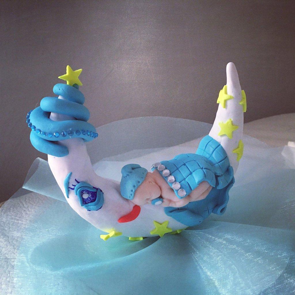Cake topper battesimo nascita bebe' sulla luna