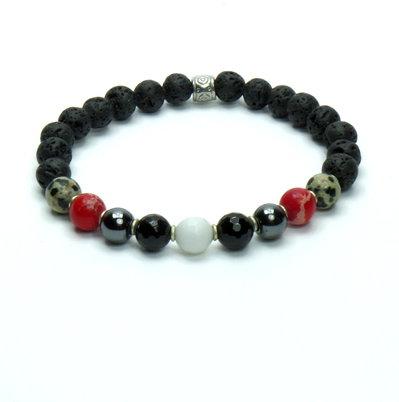 Bracciale con pietre dure ematite, diaspro rosso, agata bianca, pietra lavica e diaspro dalmata