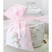 Bomboniera battesimo comunione vaso in vetro con gessetti profumati e con sacchetto portaconfetti