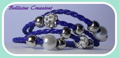 Bracciale blu intrecciato corda con perline