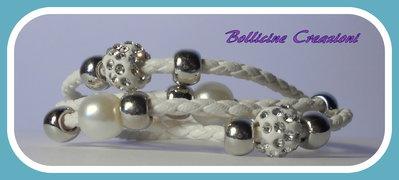 Bracciali in corda sintetica intrecciato con perline e chiusura a calamita marrone,bianco,bianco sporco, viola e nero