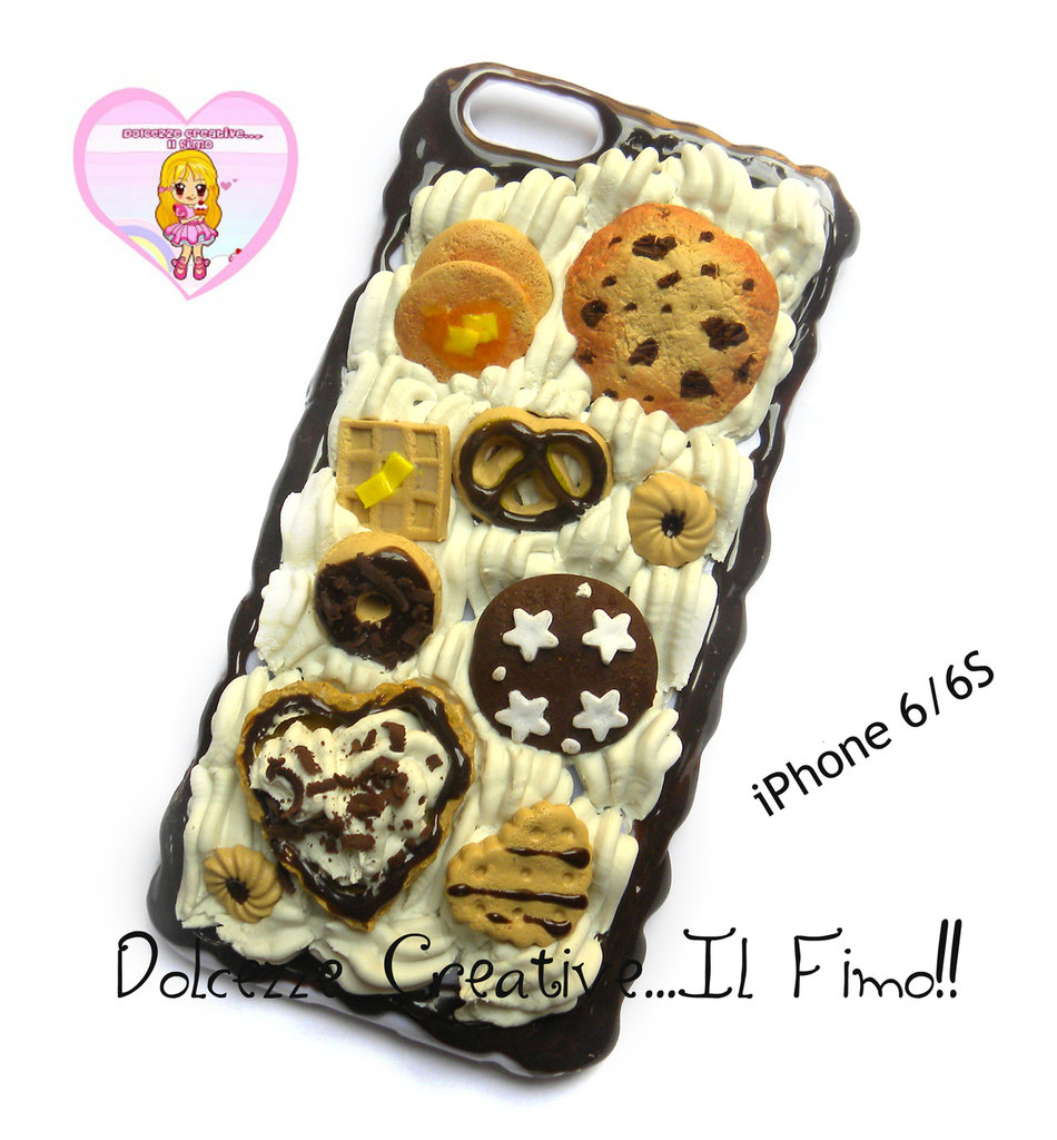 Cover iPhone 6 /6s Panna cioccolato, cookie, biscotti, pan di stelle, pancake, waffle, pastel handmade
