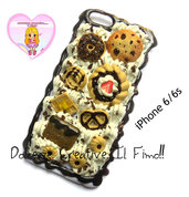 Cover iPhone 6 /6s Panna cioccolato, waffle, cookie, donut, pretzel handmade panna, kawaii