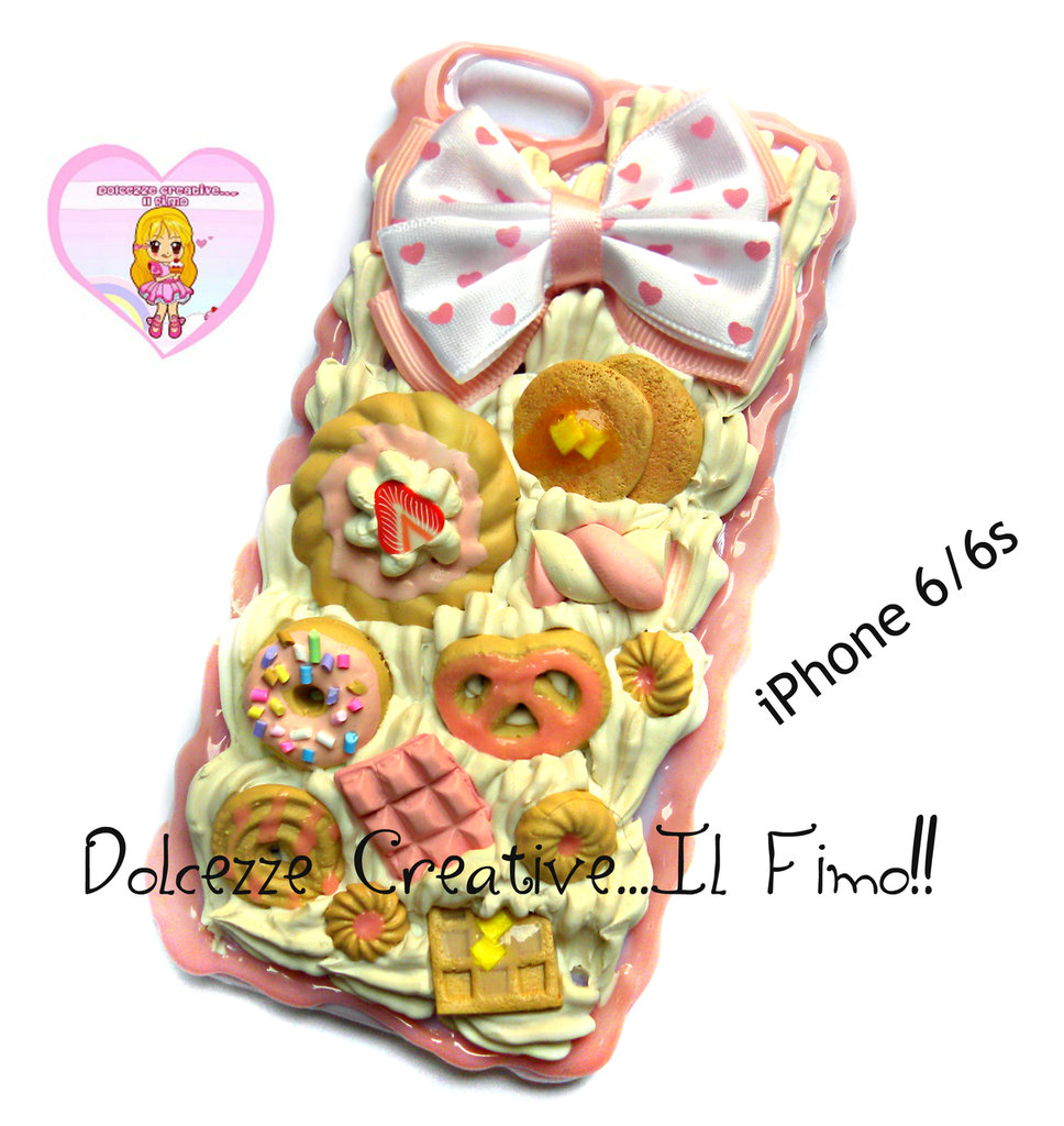 Cover iPhone 6 /6s Panna, fragole, glassa, fiocco, pancake, waffle, donut, marshmallow, handmade