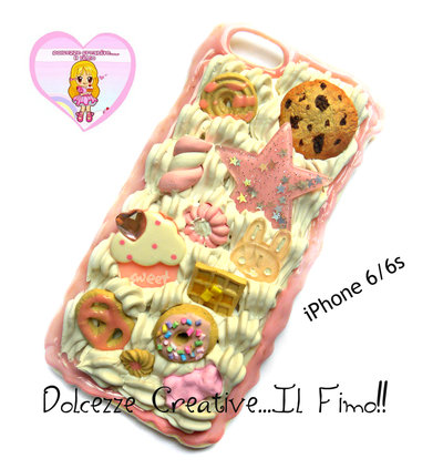 Cover iPhone 6 /6s Panna, cookie, cioccolato, fragole, coniglio waffle, marshmallow, cupcake