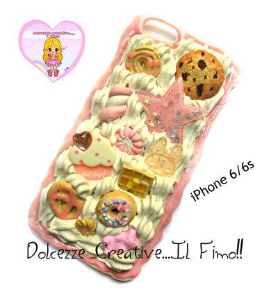 Cover iPhone 6 /6s Panna, cookie, cioccolato, fragole, coniglio waffle, marshmallow, cupcake