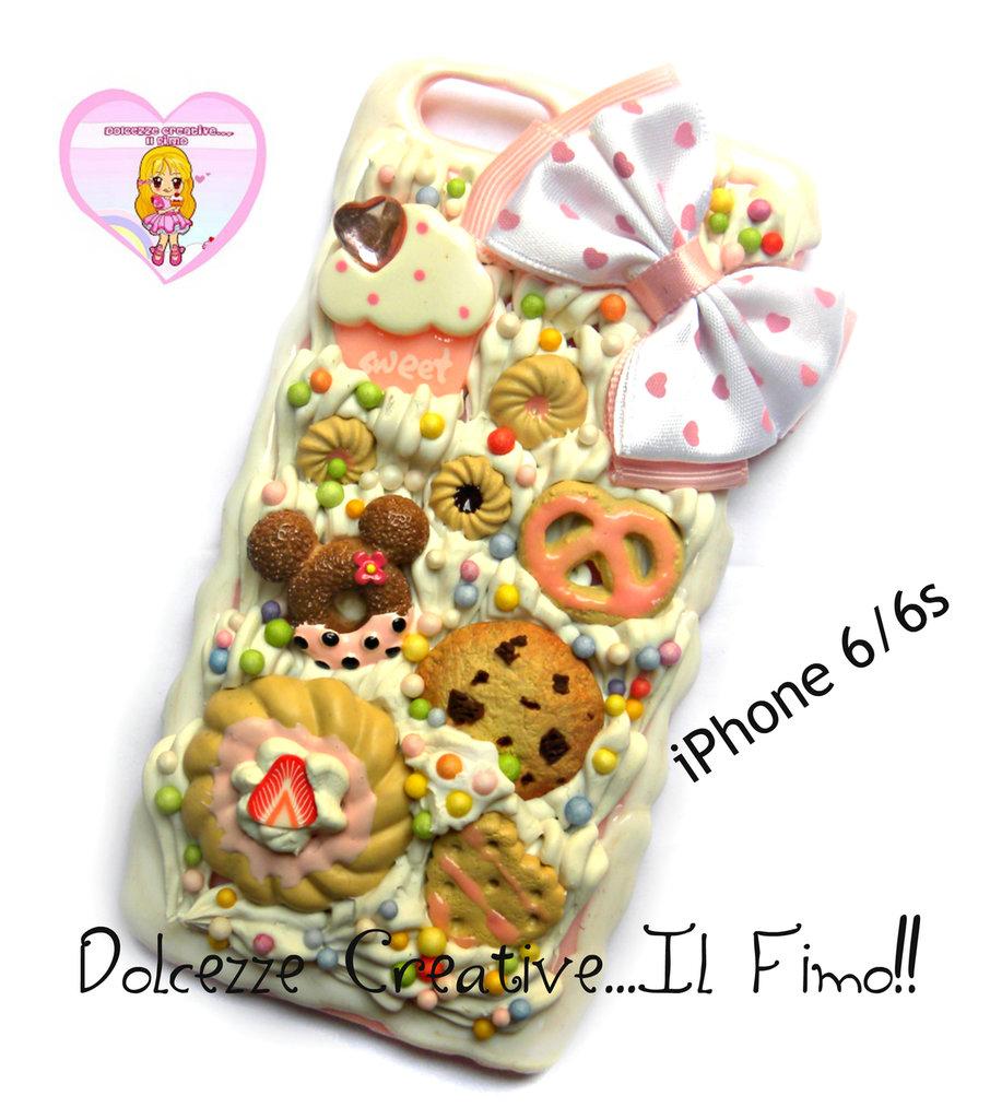 Cover iPhone 6 /6s Panna cookie, donut, cupcake, glassa, waffle, pretzel handmade cioccolato