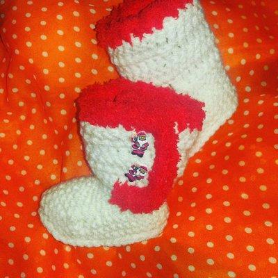 Scarpette scarpine  neonato uncinetto Ugg Natale