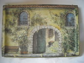 Portachiavi,portaasciugapiatti da parete su base di legno,découpage pittorico, 3 ganci