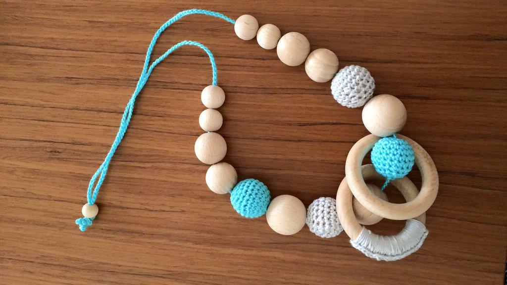 Collana allattamento in legno e cotone grigio e azzurro