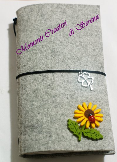 Midori, traveler's notebook diario agenda in feltro grigio