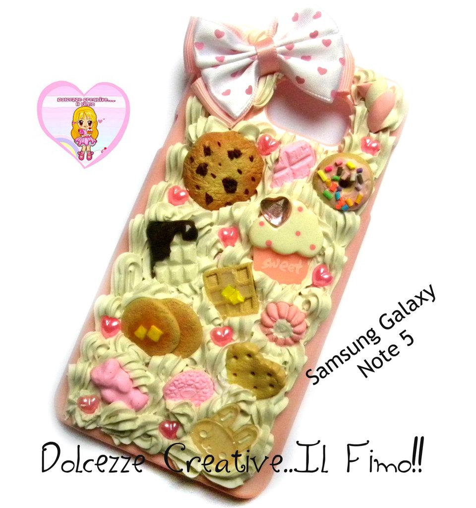 Cover Samsung Galaxy Note 5 cute kawaii caramelle handmade cupcake coniglio waffle pancake cookie orsetto