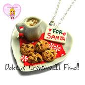 ☃ Natale In Dolcezze 2016 ☃ Collana FOR SANTA - Vassoio di latte e biscotti per Babbo Natale