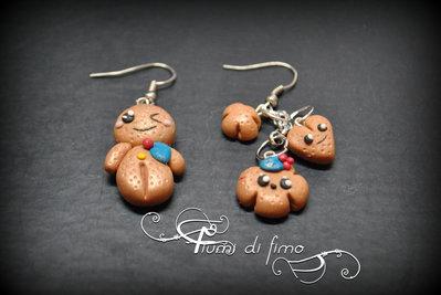 orecchini fimo| orecchini pan di zenzero| orecchini natalizi|orecchini natale| chrismas earrings| orecchini pendenti| orecchini pastapolimerica| polymerclay earrings