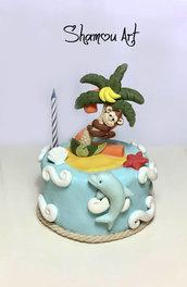 Cake topper decorazione torta compleanno bimbi isola con palma e scimmietta personalizzabile fimo fatto a mano