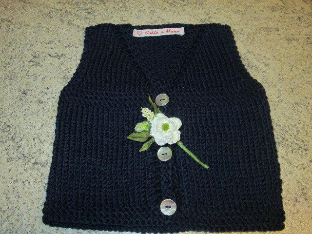 Cardigan-gilet s/m neonato-fatto a mano-100% lana merino - Idea Regalo nascita