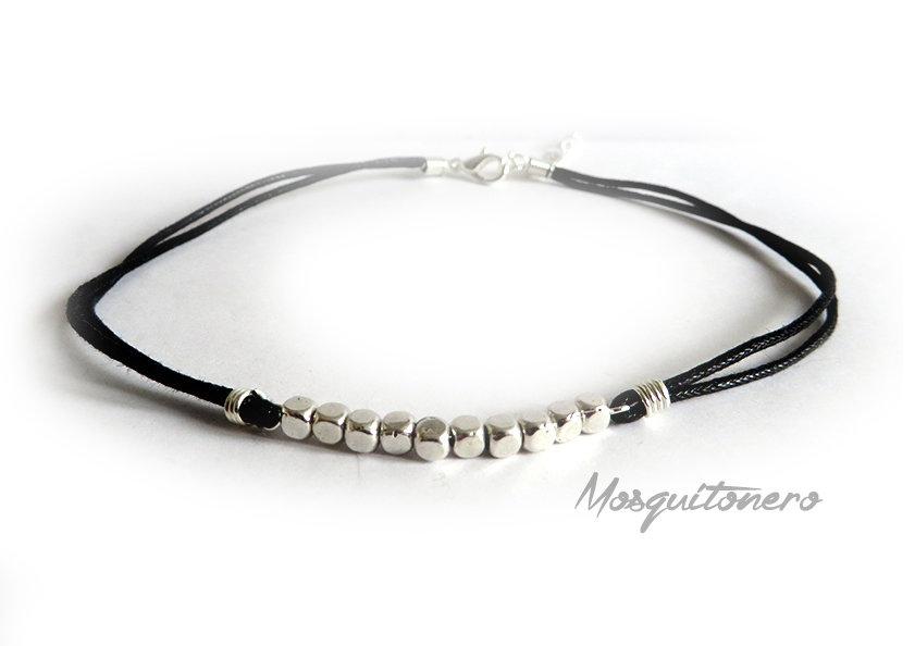 Collana donna choker collarino con perle cubo in metallo argento in cordino cotone nero