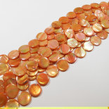 Lotto 10 madreperle tonde piatte 20mm arancio