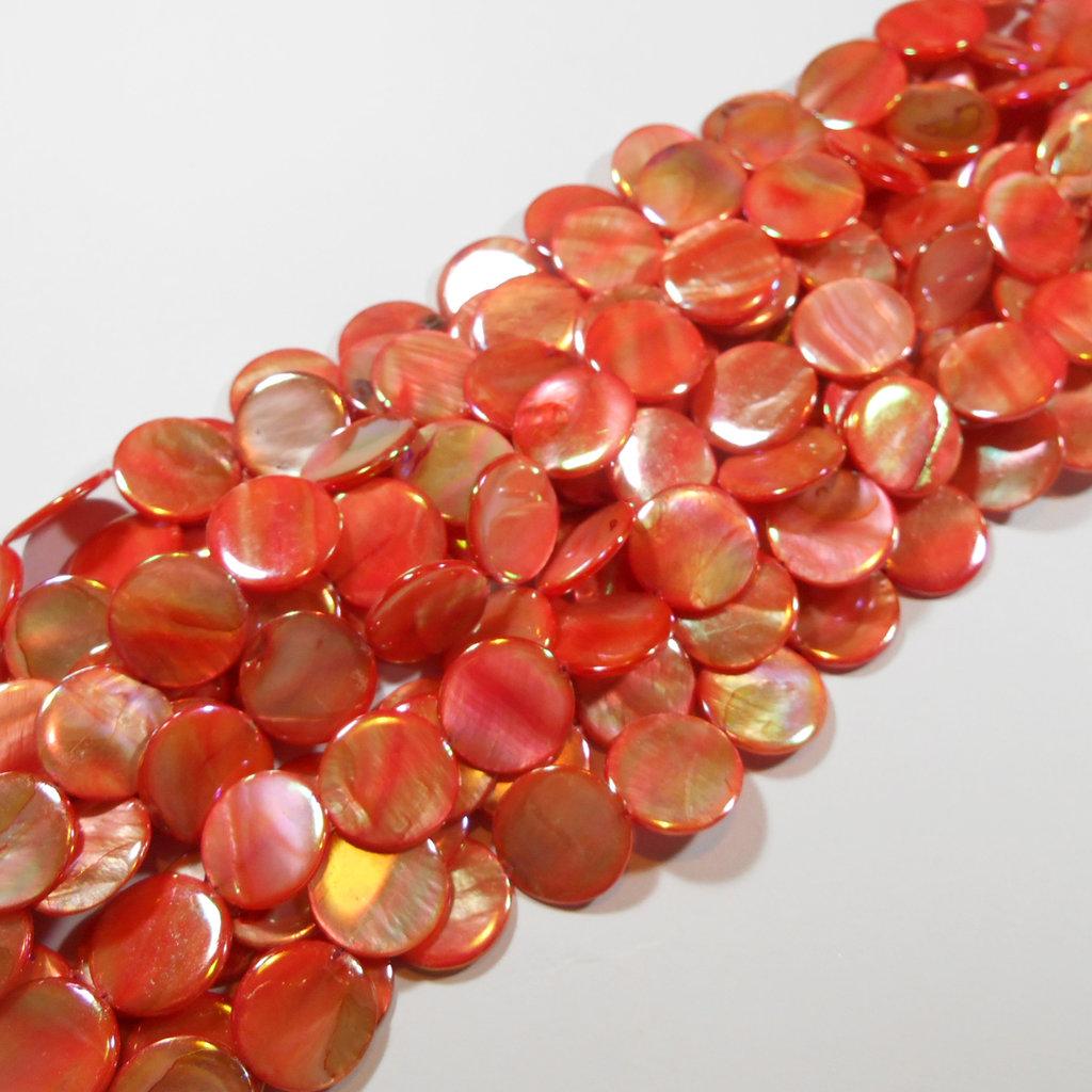 Lotto 10 madreperle tonde piatte 20mm rosso corallo