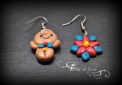 orecchini fimo| orecchini pan di zenzero| orecchini natalizi|orecchini natale| chrismas earrings| orecchini pendenti| orecchini pastapolimerica| polymerclay earrings| orecchini stella di natale
