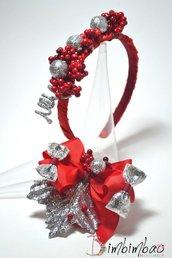 cerchietto natalizio natale cerchiello fermaglio molletta regalo fiocco headband bow clips bambina donna ragazza