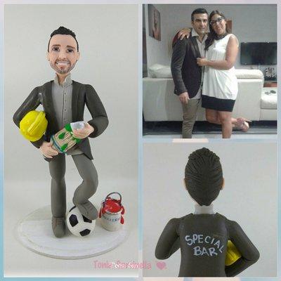 Statua cake topper caricatura uomo lavoro