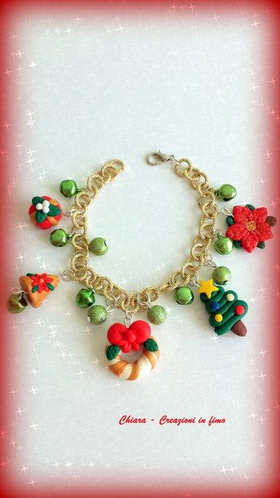 Bracciale in fimo elegante handmade con motivi natalizi idee regalo natale