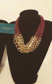 Collana in filo cerato bordeaux e catena in metallo dorata