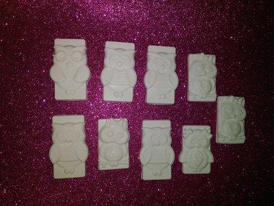 Set gessetti gufi , polvere ceramica.