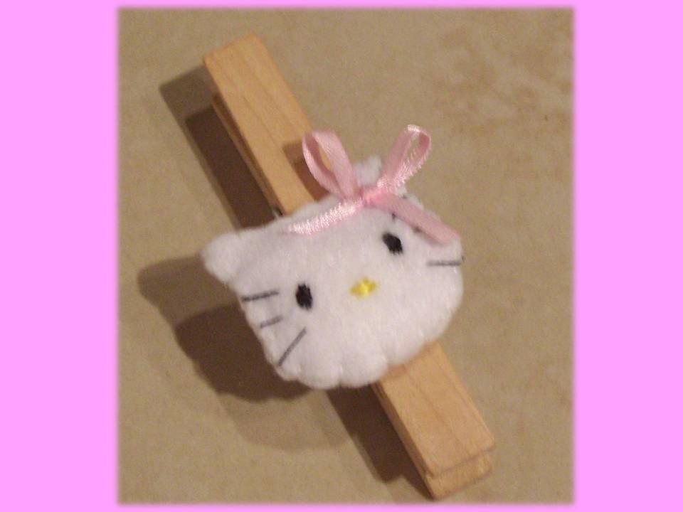 Molletta chiudipacco con Hello Kitty in feltro