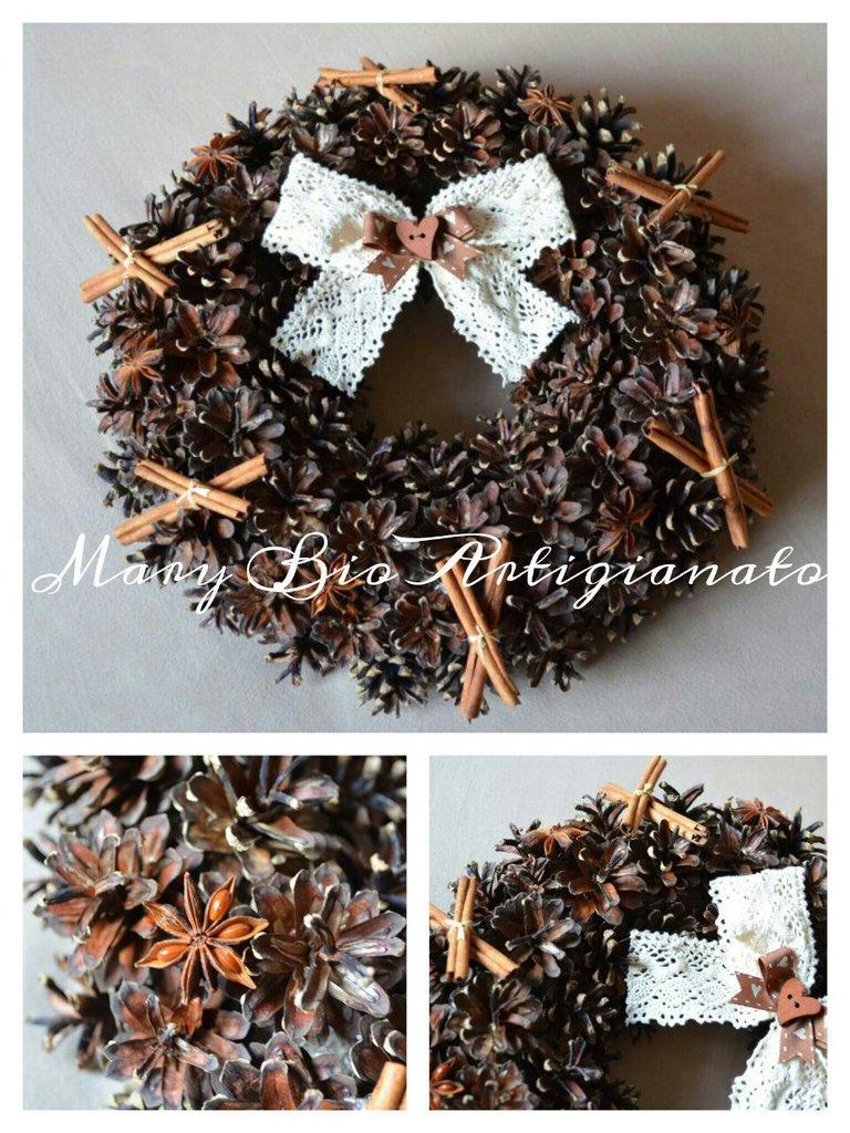 Decorazioni Natalizie Con La Cannella.Ghirlanda Pigne Spezie Cannella Corona Natale Addobbo Decorazione Artigianale