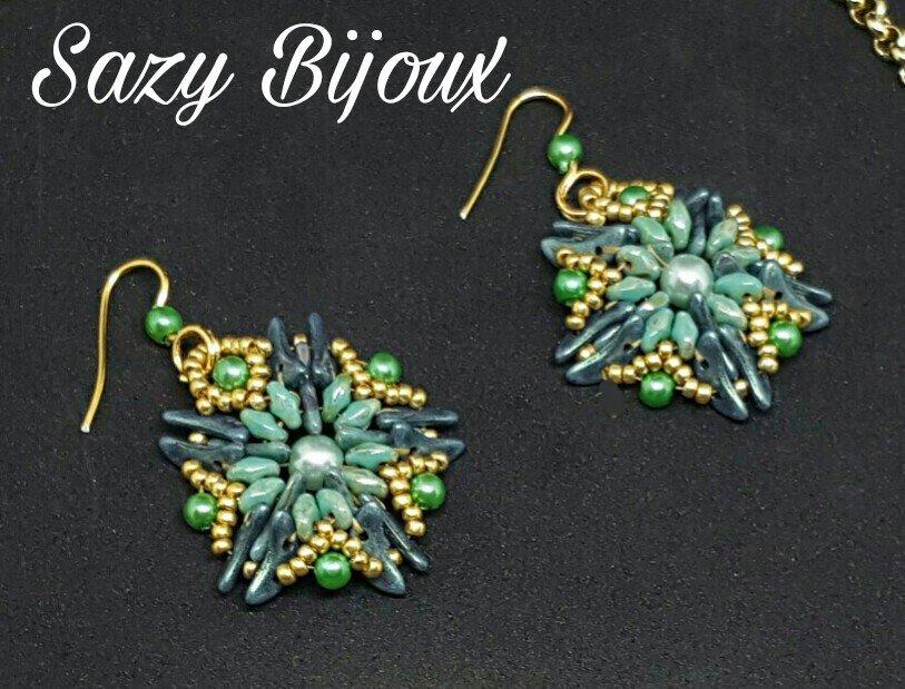 STARLEAVES: Orecchin in tessitura di perline Verde e Oro