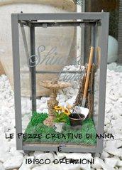 Lanterna decorativa con giardino in miniatura - Un angolo di giardino