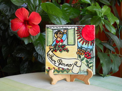 Mattonella in ceramica fatta a mano. Le ceramiche di Ketty Messina.