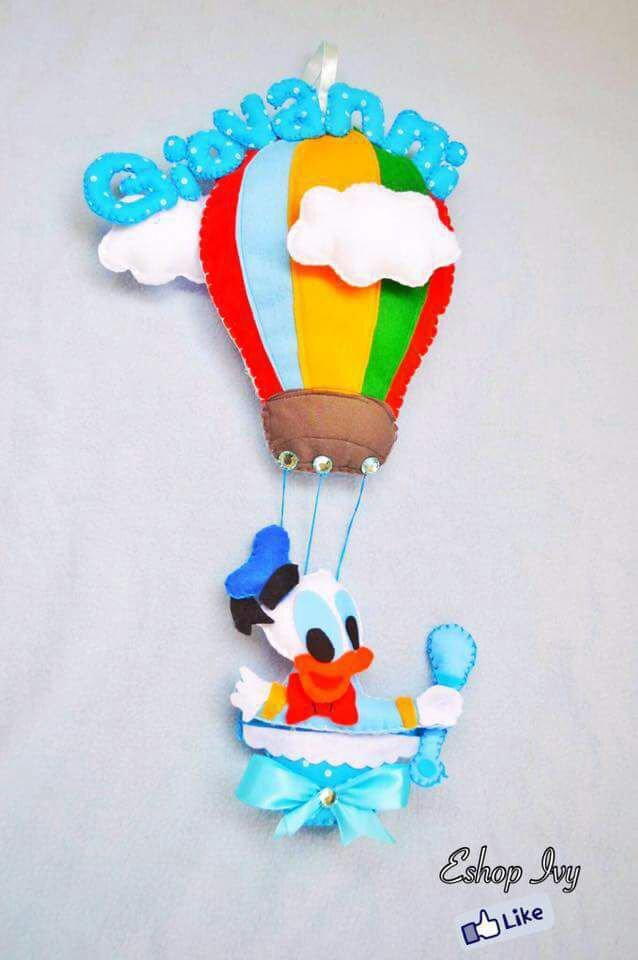 Fiocco nascita Paperino in mongolfiera personalizzato con nome lettere imbottite