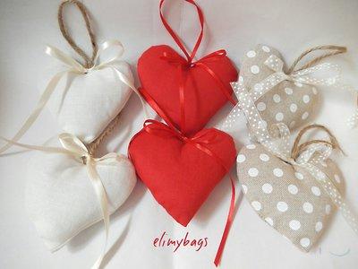 6 Cuori di stoffa misti rossi,bianchi, beige in offerta 6+1omaggio
