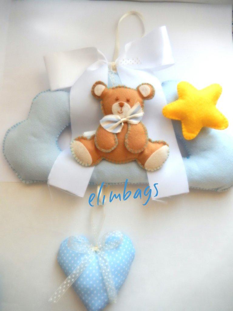 Fiocco nascita maschio orsetto stellina e cuore di stoffa