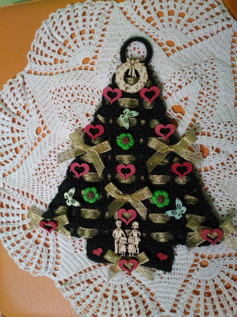 Albero Di Natale Uncinetto Con Cuori Farfalle E Fiori Feste Nat
