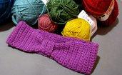 Fascia paraorecchi in lana HANDMADE color malva
