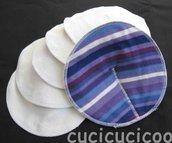 set di 6 coppette assorbilatte lavabili (strisce viola)