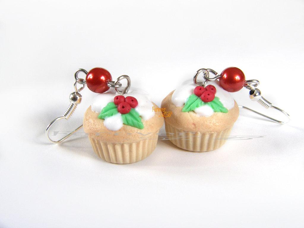 Orecchini Cupcake muffin glassa vaniglia Natale 2016 natalizi idea regalo fimo