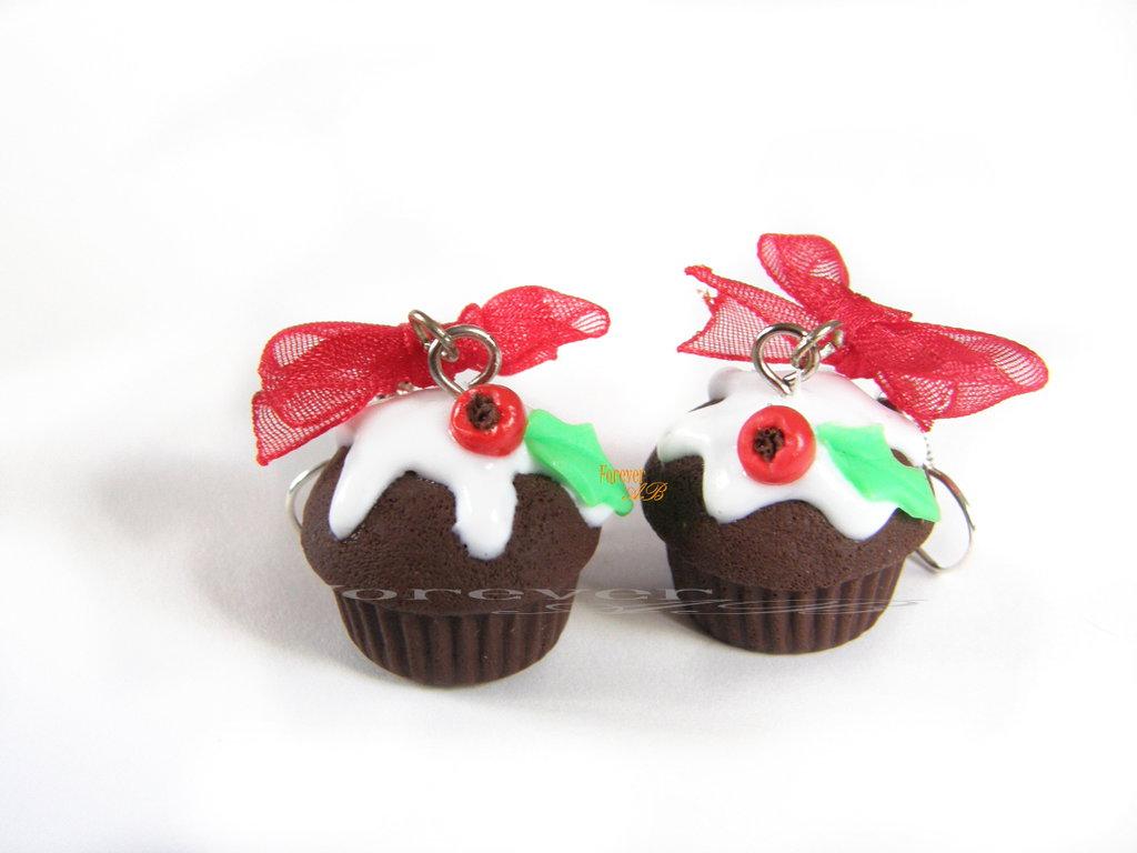 Orecchini Cupcake muffin cioccolato Natale 2016 natalizi idea regalo fimo