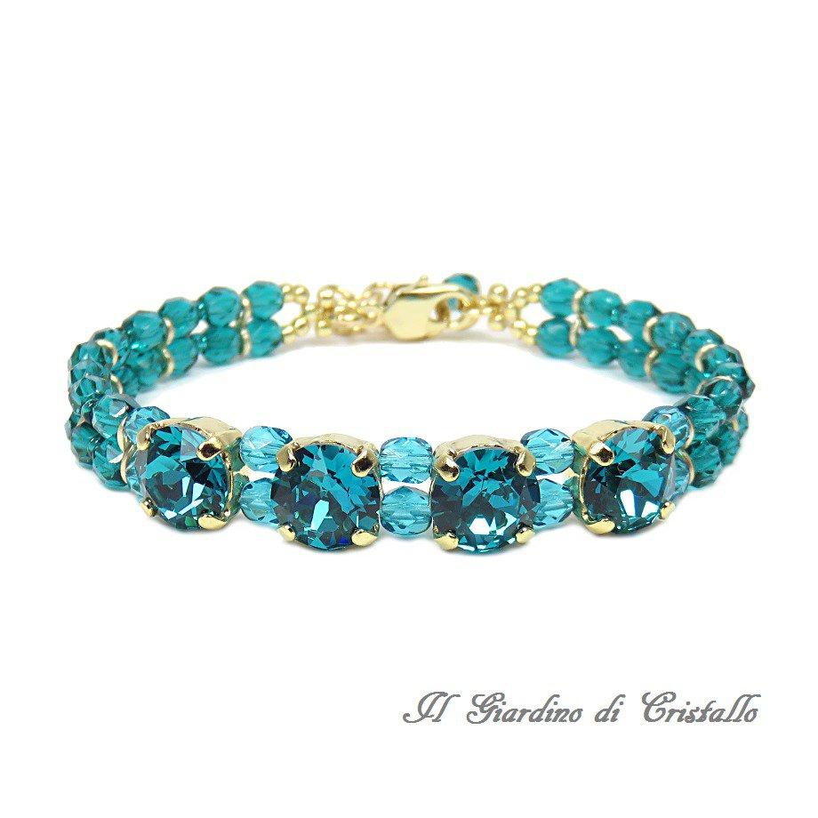 Bracciale verde petrolio cristalli Swarovski Blue Zircon elegante fatto a mano - Ibisco